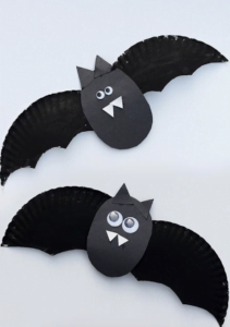 bats made from paper plates halloween arts and crafts for Nurture Collective blog