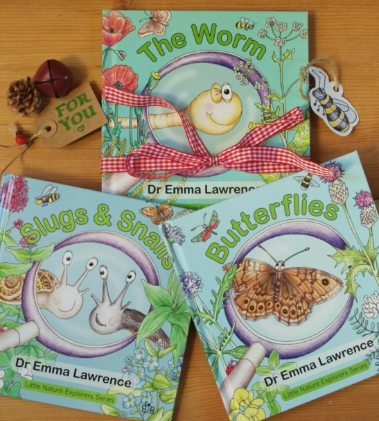 Little Nature Explorers Collection of three Books - Butterflies Slugs & Snails and The Worm by Emma Lawrence at Nurture Collective
