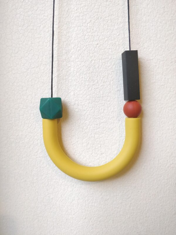 Mustard, black & rust Silicone Necklace | Geometric necklace | Statement Necklace by Kodes at Nurture Collective