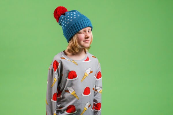 A boy wearing Thunberg Long Tee - Jelly & Ice cream Long sleeved t-shirt by Boy Wonder at Nurture Collective
