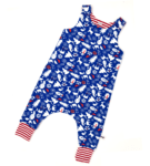 Organic Blue Christmas Harem Romper Squidge & Smudge at Nurture Collective