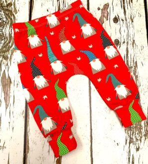 Christmas Red Gnomes Legging Pants by Maebelle & Bo at Nurture Collective