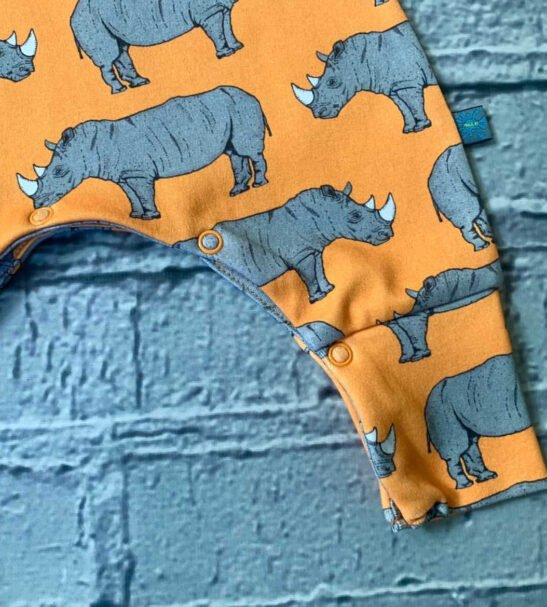 Organic Rhino Romper with popper opening by Maebell & Bo at Nurture Collective