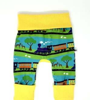 Organic Train Print Grow-with-me-Trousers by Squidge & Smudge at Nurture Collective