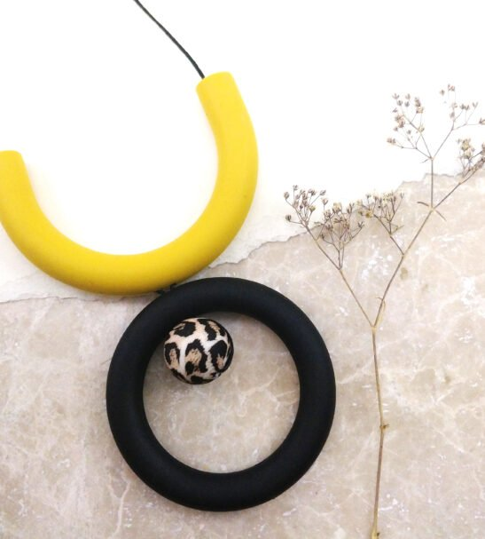 Mustard, black & leopard Silicone Necklace by Kodes at Nurture Collective
