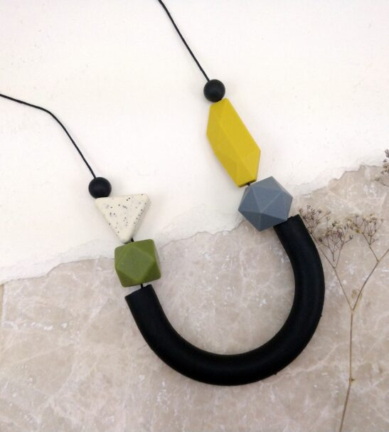 Black Tube, Mustard & Grey Silicone Necklace by Kodes at Nurture Collective