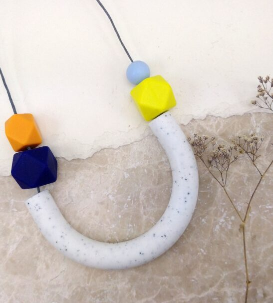 Granite, lime, mango & blue Silicone Necklace by Kodes at Nurture Collective