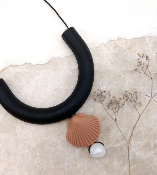 Shell, Pearl & Grey Silicone Necklace by Kodes at Nurture Collective