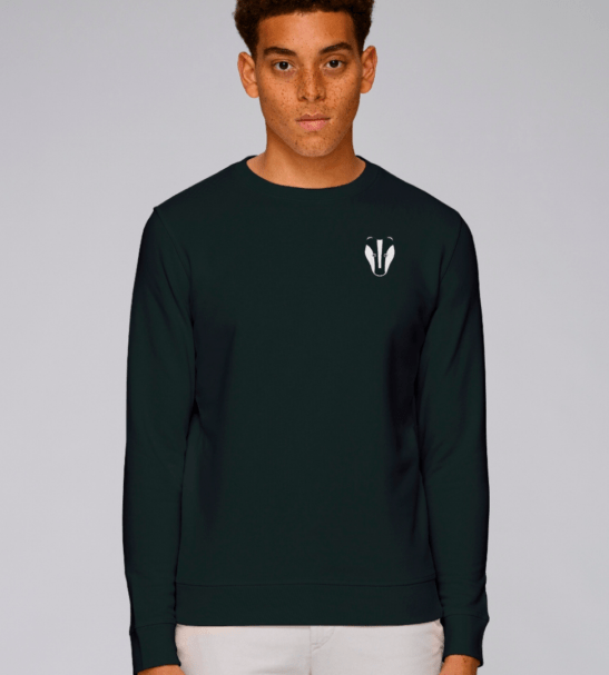 Adults Badger Sweatshirt in Black by Tommy & Lottie at Nurture Collective