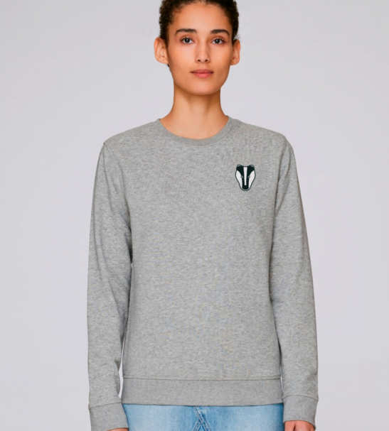 Adults Badger Sweatshirt in Grey Marl by Tommy & Lottie at Nurture Collective