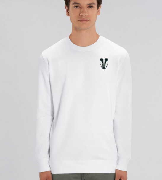 Adults Badger Sweatshirt in White by Tommy & Lottie at Nurture Collective