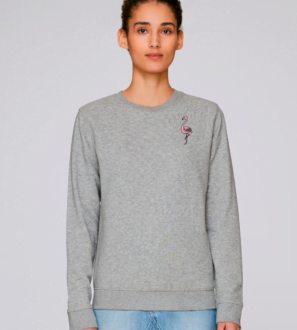 Adults Flamingo Sweatshirt in Grey Marl by Tommy & Lottie at Nurture Collective