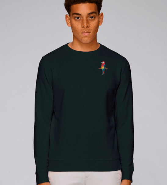 Adults Parrot Sweatshirt in Black by Tommy & Lottie at Nurture Collective