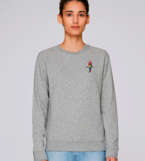 Adults Parrot Sweatshirt in Grey Marl by Tommy & Lottie at Nurture Collective