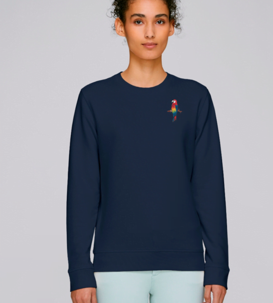 Adults Parrot Sweatshirt in Navy by Tommy & Lottie at Nurture Collective