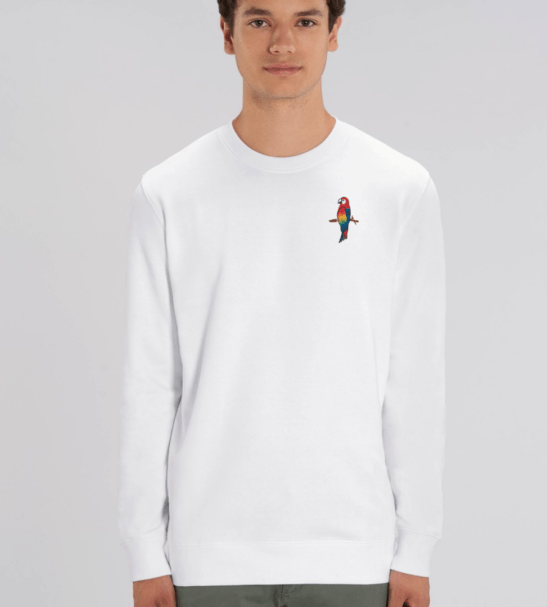 Adults Parrot Sweatshirt in White by Tommy & Lottie at Nurture Collective