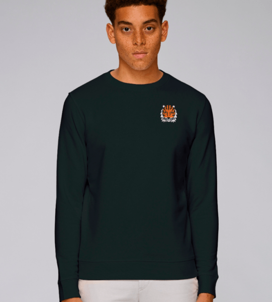 Adults Tiger Sweatshirt in Black by Tommy & Lottie at Nurture Collective