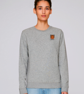 Adults Tiger Sweatshirt in Grey Marl by Tommy & Lottie at Nurture Collective