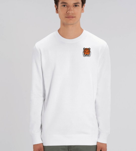 Adults Tiger Sweatshirt in White by Tommy & Lottie at Nurture Collective