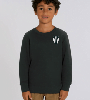 Kids Badger Sweatshirt in Black by Tommy & Lottie at Nurture Collective