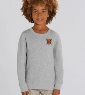 Kids Tiger Sweatshirt in Grey Marl by Tommy & Lottie at Nurture Collective