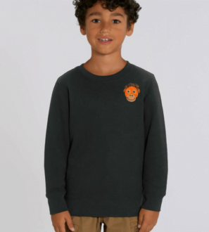 Kids Orangutan Sweatshirt in Black by Tommy & Lottie at Nurture Collective