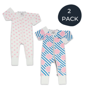 Two Pack Zipster Bamboo Baby Grows in Grapefruit Zipster and Stars design at Nurture Collective