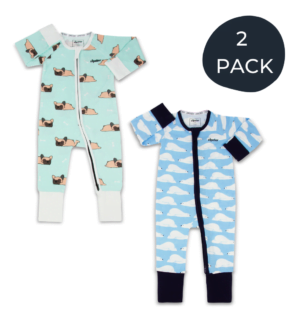 Two Pack Zipster Bamboo Baby Grows in Frenchie Zipster and Sleepy Bear design at Nurture Collective