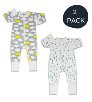 Two Pack Zipster Bamboo Baby Grows in Clouds Zipster and Snowsports design at Nurture Collective