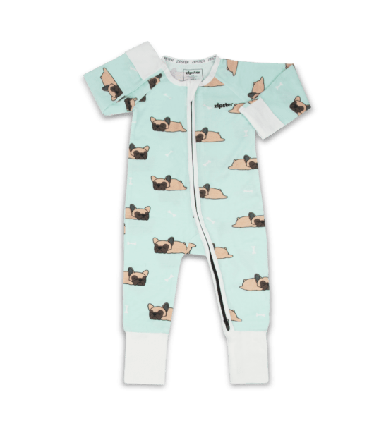 Frenchie - Baby Romper in Bamboo by Zipster at Nurture Collective