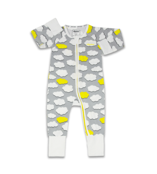 Clouds - Baby Romper in Bamboo by Zipster at Nurture Collective