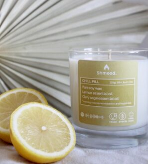 Soy Wax Candle Chill Pill Lemon & Clary Sage by Shamood at Nurture Collective