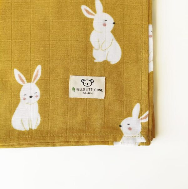 Hello Little One Baby & Kids - 4 Piece Muslin baby Blanket Set in bunny print at Nurture Collective