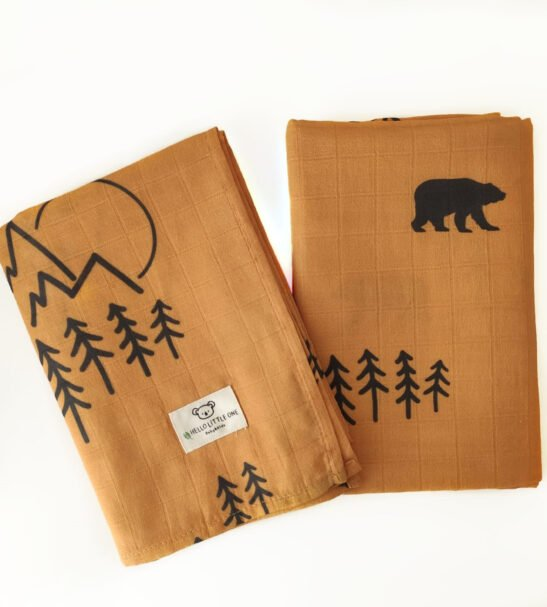 Dear Little One Muslins baby blanket set in Bears Print at Nurture Collective