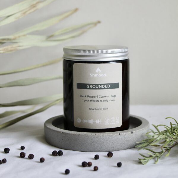 Soy Wax Candle Grounded Black Pepper, Cypress & Sage by Shamood Candles at Nurture Collective