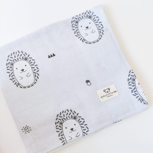 Hello Little One Baby & Kids - 4 Piece Muslin Blanket Set | Hedgehog print at Nurture Collective