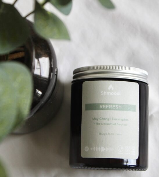 Soy Wax Candle Refresh May Chang & Indian Eucalyptus by Shamood Candles at Nurture Collective