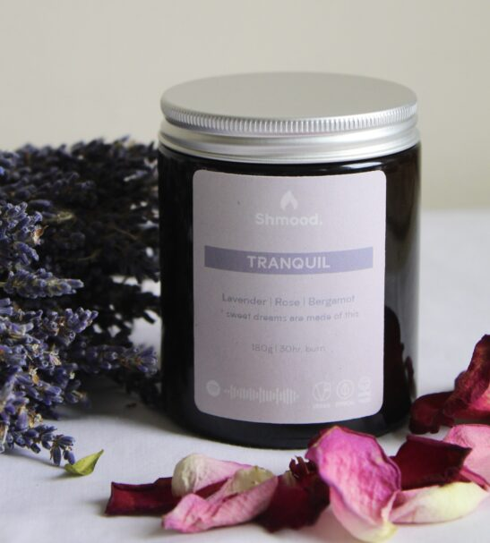 Soy Wax Candle Tranquil Lavender, Rose & Bergamot by Shamood at Nurture Collective