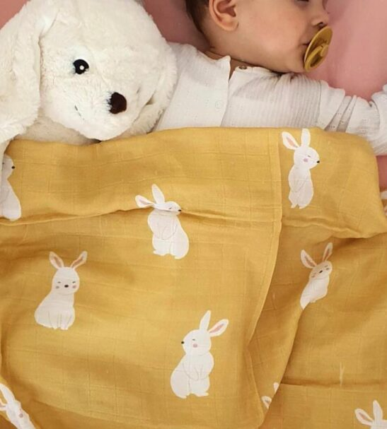 Hello Little One Baby & Kids - 4 Piece Muslin Blanket Set in bunny print at Nurture Collective