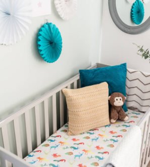 Colourful Animals Fitted organic cotton baby Cot Sheet by Gilded Bird at Nurture Collective