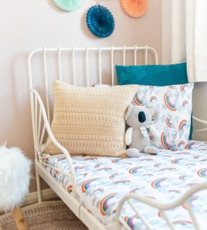 Rainbow white Toddler Duvet bedding set by Gilded Bird at Nurture Collective