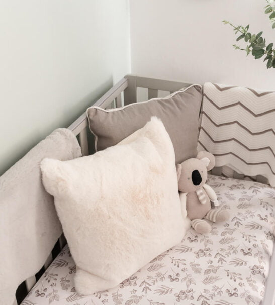 Lovely Leaves Grey Fitted Cot Sheet by Gilded Bird at Nurture Collective