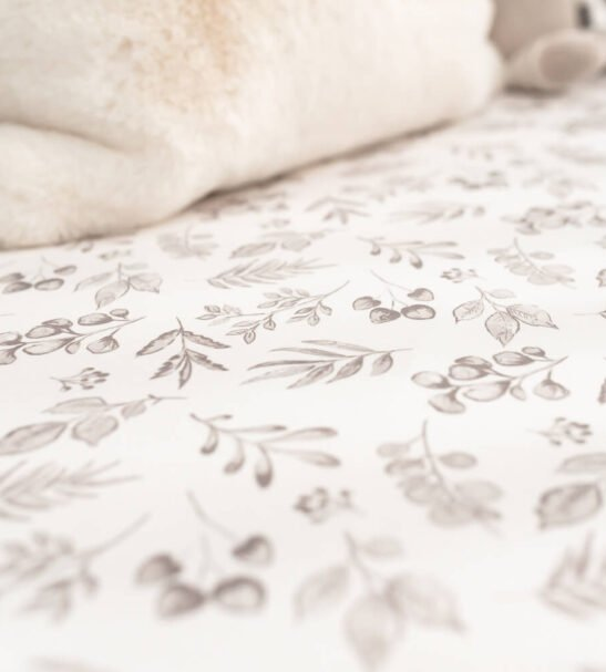 Lovely Leaves Grey Fitted baby Cot Sheet by Gilded Bird at Nurture Collective