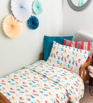 coloured animals Toddler Duvet bedding set by Gilded Bird at Nurture Collective