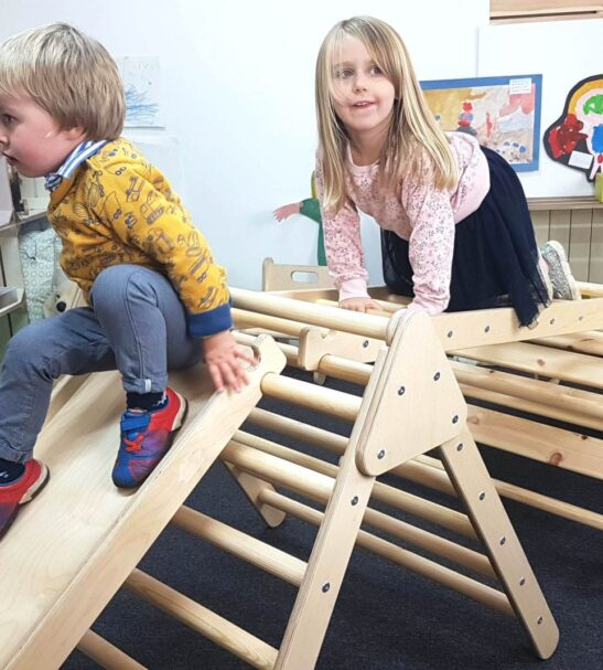 Junior Pikler InspiredTriangle Climbing frame with handles and slide by Ligneus Play at Nurture Collective