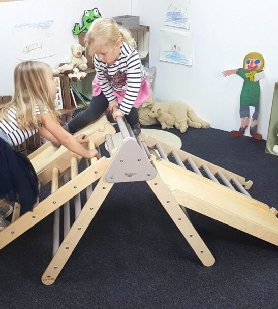 Large Junior Pikler inspired triangle, ladder and small ladder by Ligneus Play at Nurture Collective
