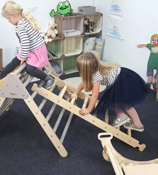 Large Junior Pikler inspired triangle, ladder and Climbing rocker Arch by Ligneus Play at Nurture Collective