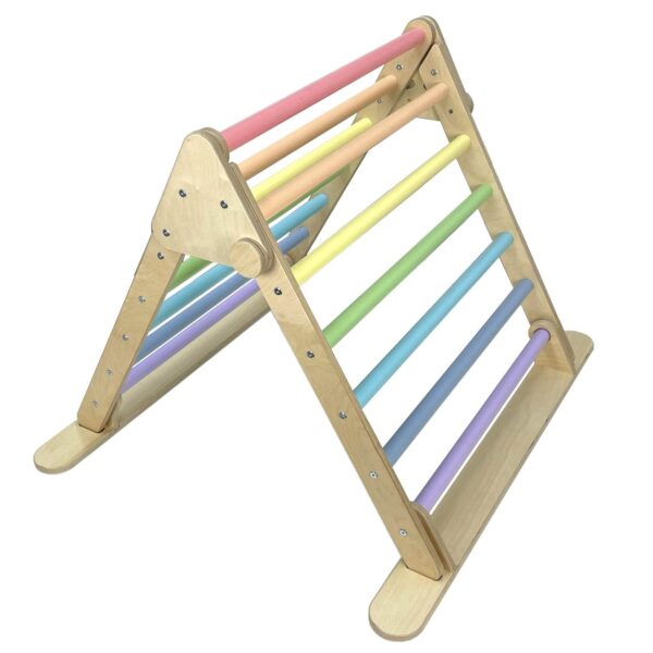 JUNIOR TRIANGLE PASTEL RAINBOW pikler inspired by Ligneus Play at Nurture Collective