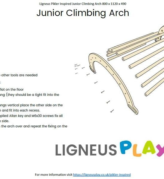 Large Junior Pikler Climbing Arch Instructions by Ligneus Play at Nurture Collective