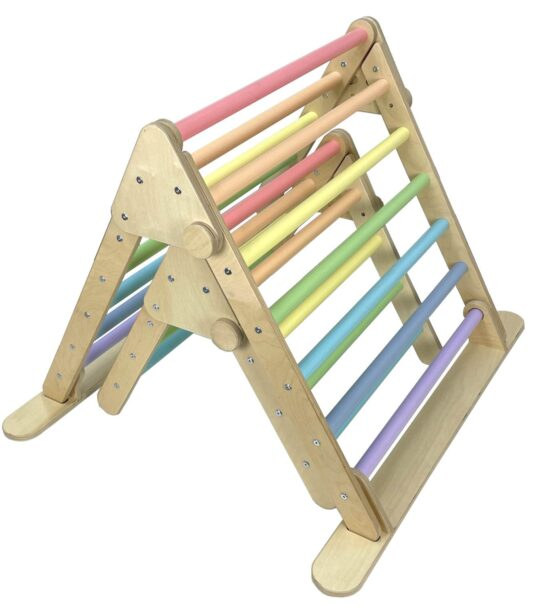 Nursery & Junior Pikler inspired Triangle rainbow by Ligneus Play at Nurture Collective